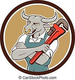 Bull Plumber Wrench Standing Circle Cartoon