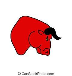 Bull red strong face. Big power buffalo head