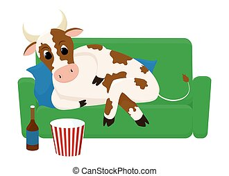 Bull relaxing on weekends with  popcorn and  beer