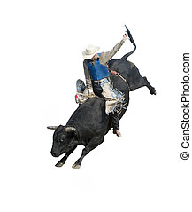 Bull Riding at the Herbert Rodeo, Saskatchewan, Canada