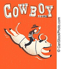 Bull riding. Vector American bull riding chempion on red background illustration