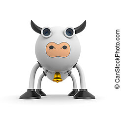 Bull robor or may be cow. Cute character. 3d illustration