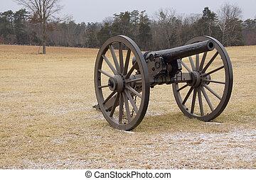 Bull Run Cannon in Field - A Civil War cannon in a cold...