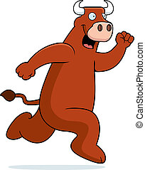 Bull Running - A happy cartoon bull running and smiling.