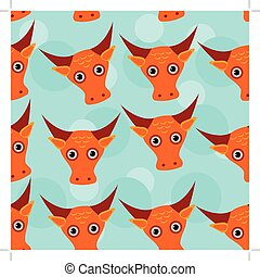 Bull Seamless pattern with funny cute animal face on a blue background