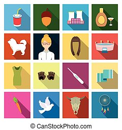 bull, Seryozhka, Turkey and other web icon in flat style.bird, head, horns, icons in set collection.