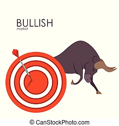 Bull shape The growing Business market. Accurate hit on target. Vector.