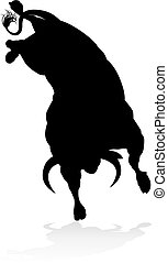 Bull Silhouette - A high quality detailed bull male cow...