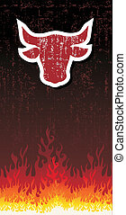 Bull silhouette with fire vector