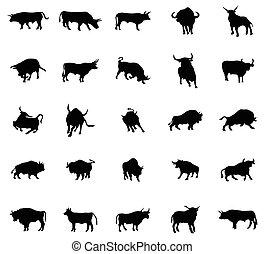 Bull silhouettes set
