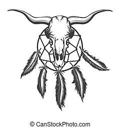 Bull skull and dream catcher tattoo