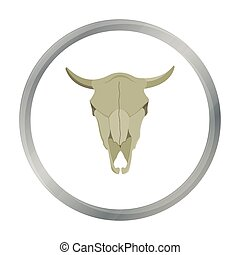 Bull skull icon cartoon. Singe western icon from the wild...