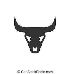 Bull skull icon flat