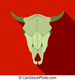 Bull skull icon flate. Singe western icon from the wild west...