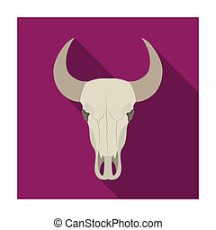 Bull skull icon in flat style isolated on white background. Rodeo symbol stock bitmap illustration.