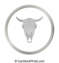 Bull skull icon monochrome. Singe western icon from the wild...