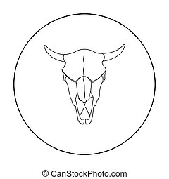 Bull skull icon outline. Singe western icon from the wild...