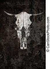 bull skull on a black background