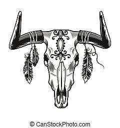 Bull skull tattoo design