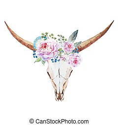 Bull skull watercolor - Beautiful vector image with nice...