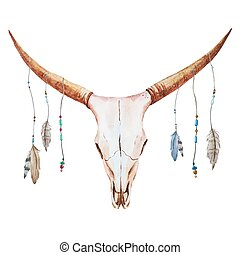 Bull skull watercolor - Beautiful vector image with nice...