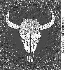 Bull skull with roses native Americans tribal style. Tattoo blackwork. Vector hand drawn illustration. Boho