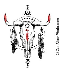 Bull skulls with feathers and ethnic symbols. Native...