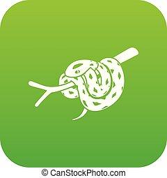 Bull snake icon green vector