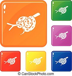 Bull snake icons set vector color