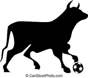 Bull soccer ball - Illustration silhouette of a bull...