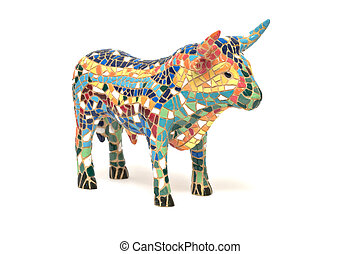 Bull - Spanish bull souvenir made of china, white background