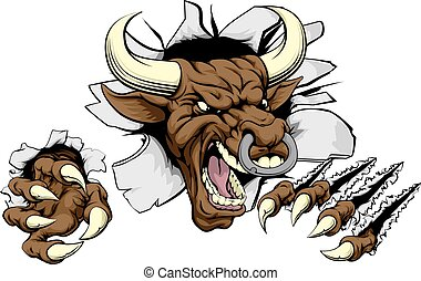 Bull sports mascot concept of a mean looking tough bull...