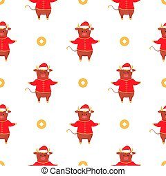 Bull symbol of Chinese New Year seamless pattern