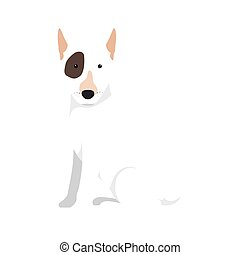bull terrier dog cartoon - bull terrier breed dog canine pet...