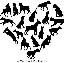 Bull Terrier Dog Heart Silhouette Concept - A bull terrier...