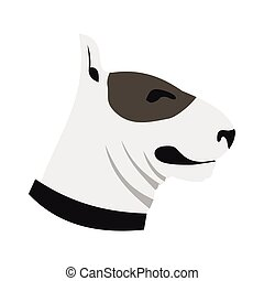 Bull terrier dog icon, flat style