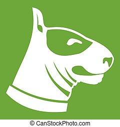 Bull terrier dog icon green - Bull terrier dog icon white...
