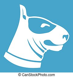 Bull terrier dog icon white isolated on blue background...