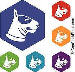 Bull terrier dog icons set