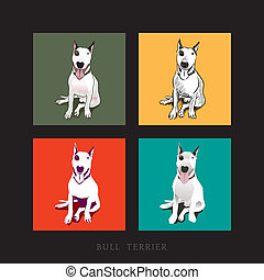 Bull Terrier Dog Illustration - Various Style of a white...