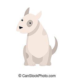 Bull Terrier dog. Raster illustration in flat cartoon style