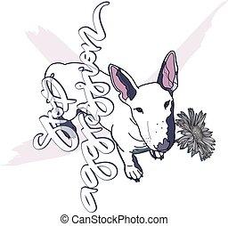 Bull terrier dog vector illustration.