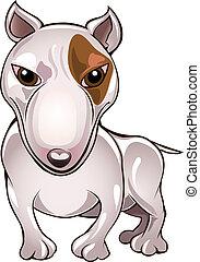 Bull Terrier - Funny illustration with bull terrier drawn in...