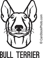 Bull terrier. Vector black icon logo illustration