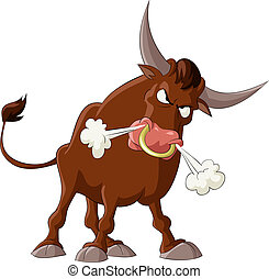 Bull - A bull with a white background, vector