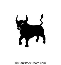 Bull vector icon illustration isolated on white background. Ox hand drawn logo