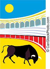Bull bullfighter Vector Illustration cartoon typical spanish