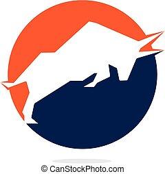 Bull vector logo design.