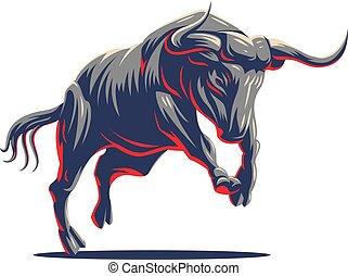 bull., vector, logo.