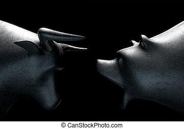 Bull Versus Bear - A closeup of two metal castings depicting...